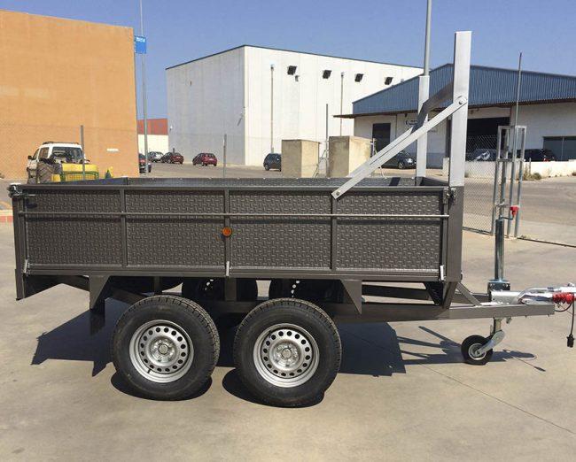 Remolque 2 ejes REFORZADO + ruedas bajo + laterales abatibles-1