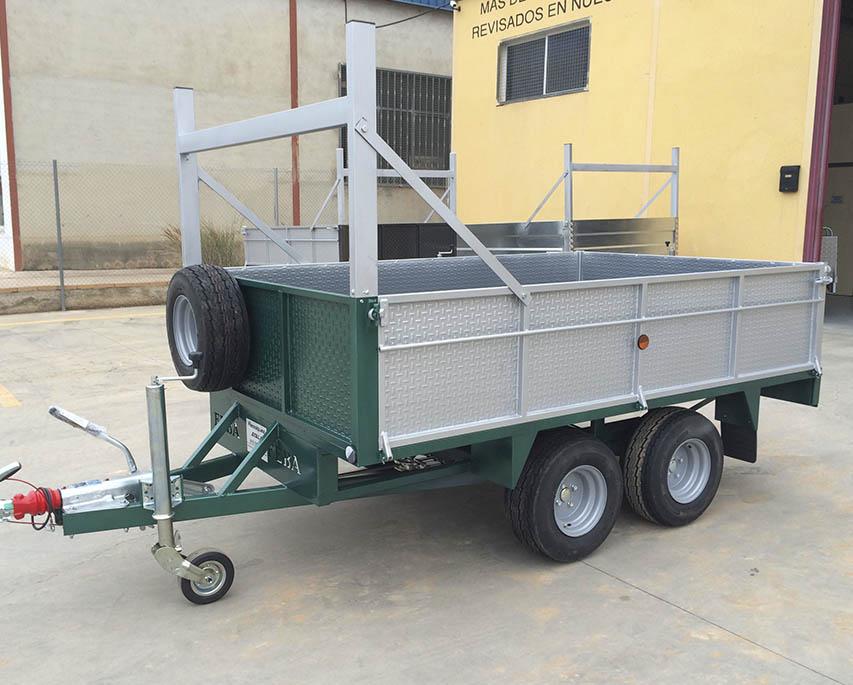 Remolque 2 ejes REFORZADO + ruedas bajo + laterales abatibles-2