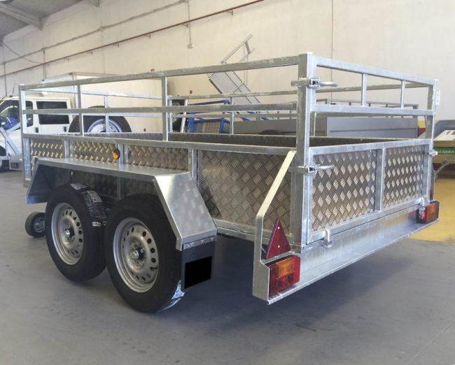 Remolque 2 ejes galvanizado + aluminio + tablero finlandes-6