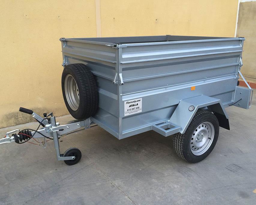 Remolque caja abierta 1800 1300 500 sobrelateral 30 cm freno 14 basculante-1