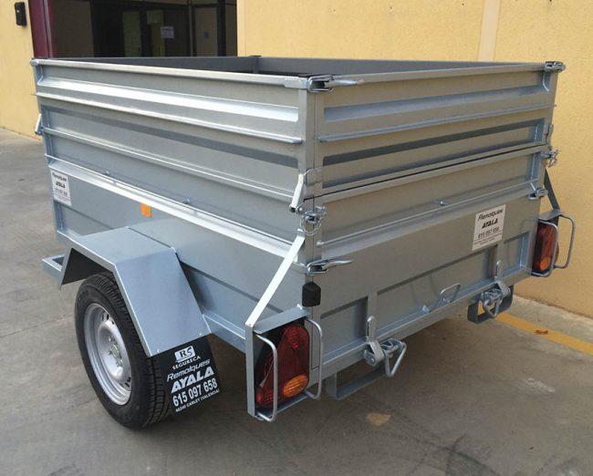 Remolque caja abierta 1800 1300 500 sobrelateral 30 cm freno 14 basculante
