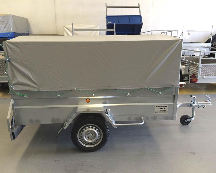 Remolque galvanizado 1 eje con lona y arquillos 2.400 x 1.400 x 1.100