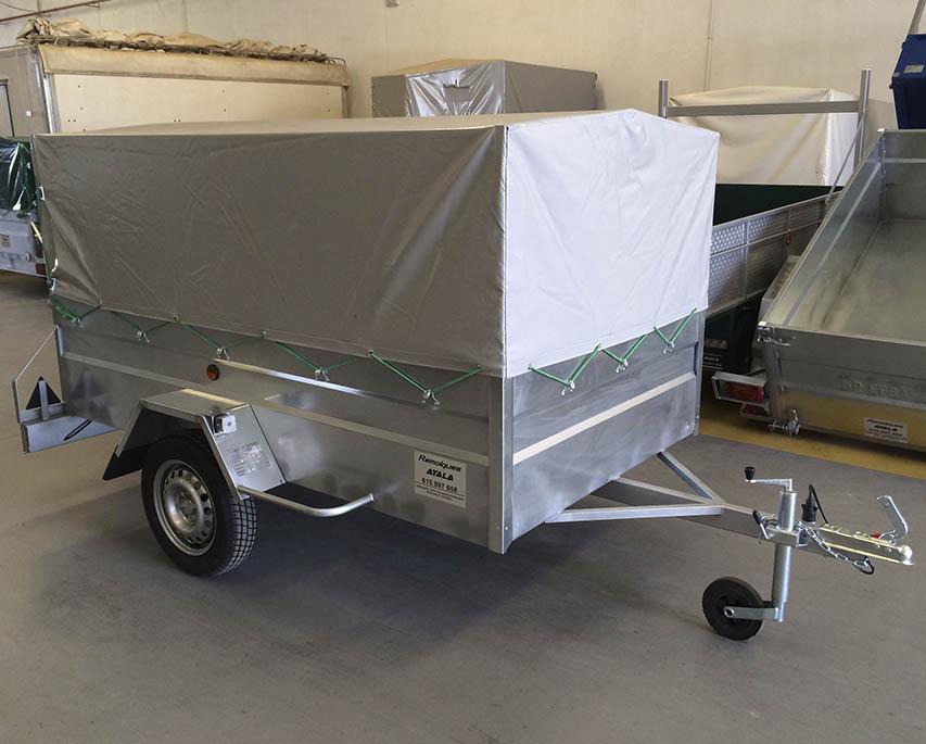Remolque galvanizado 1 eje con lona y arquillos 2.400 x 1.400 x 1.100-2